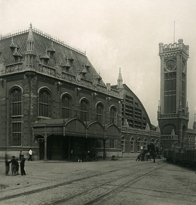 Belgium Ostend Oostende Railway Station Old NPG Stereoview Photo 1900's