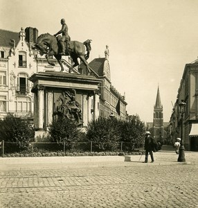 Belgium Ostend Oostende Place & Statue of Leopold I NPG Stereoview Photo 1900's