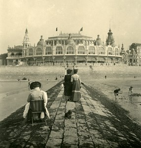 Belgium Ostend Oostende Kursaal taken from the sea Old Stereoview NPG 1900's