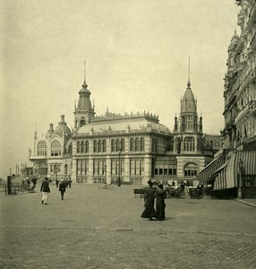 Belgium Ostend Oostende lateral façade of Kursaal NPG Stereoview Photo 1900's