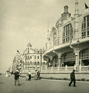 Belgium Ostend Oostende the Kursaal and the dike Old NPG Stereoview Photo 1900's