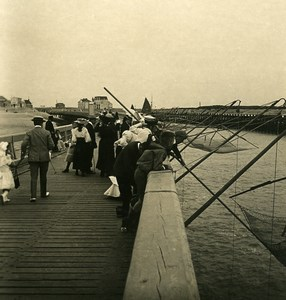 Belgium Blankenberge Fishing on the Jetty Old NPG Stereoview Photo 1900's