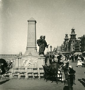 Belgium Blankenberge the Dike Monument Old NPG Stereoview Photo 1900's