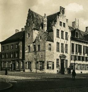 Belgique Mechelen Malines Hotel de Ville Façade Ouest Ancienne Photo Stereo NPG 1900's