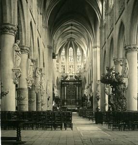 Belgique Mechelen Malines Eglise St Rombaut intérieur Ancienne Photo Stereo NPG 1900's
