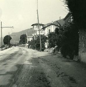 Italie Lac Majeur Pallanza route de Suna Ancienne Photo Stereo Possemiers 1900