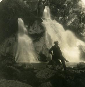 Allemagne Foret Noire Triberg Chutes Cascades Ancienne Photo Stereo NPG 1900