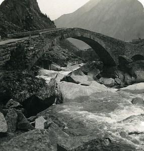 Switzerland Alps Gotthard road bridge Old Stereoview photo Wehrli 1900
