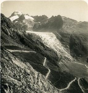 Switzerland Alps Grimsel road Rhone Glacier Old Stereoview photo Wehrli 1900