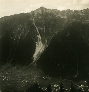 France Alpes Massif du Mont Blanc Brevent & Chamonix Ancienne Photo Stereo NPG 1900