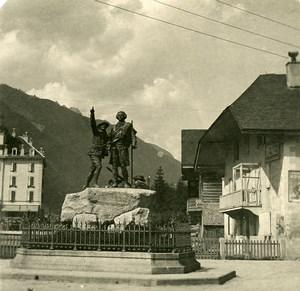 France Alpes Chamonix Monument de Saussure Ancienne Photo Stereo 1900