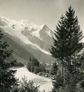 France Alps Arve River & Mont Blanc Old Stereoview photo Wehrli 1900