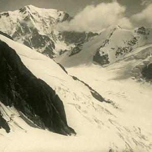 France Alpes Mont Blanc Glacier de Tré-la-Tête Ancienne Photo Stereo NPG 1900