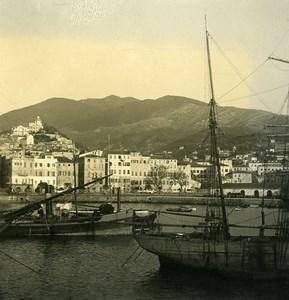 Italy San Remo Harbor Sailboats Old Stereoview photo NPG 1900