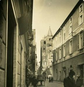 Italie Albenga une rue Ancienne Photo Stereo NPG 1900