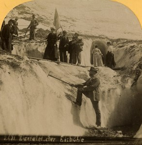 Switzerland Mountaineers Ice Cave on the Eiger Old Stereoview photo Gabler 1885