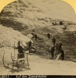 Switzerland Mountaineers Sled on Glacier Eiger Old Stereoview photo Gabler 1885