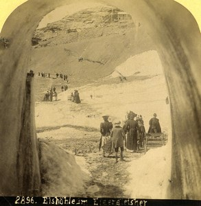 Switzerland Ice Cave on the Eiger Glacier Old Stereoview photo Gabler 1885