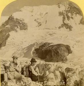 Suisse Alpinistes sur le Glacier du Rottal Ancienne Photo Stereo Gabler 1885