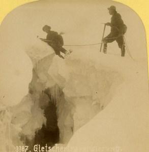 Suisse Alpinistes sur un glacier Ancienne Photo Stereo Gabler 1885