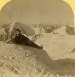 Suisse Alpiniste au sommet du Monte Rosa Mont Rose Ancienne Photo Stereo Gabler 1885