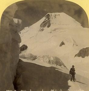 Suisse vue sur le Mönchjoch Monch Ancienne Photo Stereo Gabler 1885