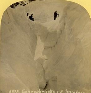 Suisse Pont de glace sur la Jungfrau Ancienne Photo Stereo Gabler 1885