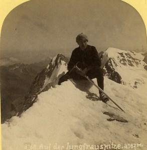 Suisse Alpiniste au sommet de la Jungfrau Ancienne Photo Stereo Gabler 1885