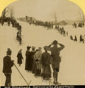 Switzerland Grindelwald Nordic ski races Old Stereoview photo Gabler 1885