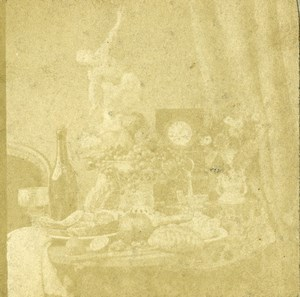 France Still Life Old Salt Print? Stereoview Photo 1860