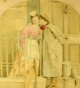 United Kingdom Taking the Cream Milkman's Kiss Old Fancy Stereoview Photo 1860