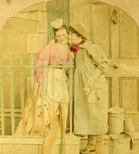 United Kingdom Taking the Cream Milkman's Kiss Old Fancy Stereoview Photo 1860