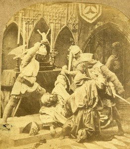France Historical re-enactment Scene de Genre Old Stereoview Photo 1860