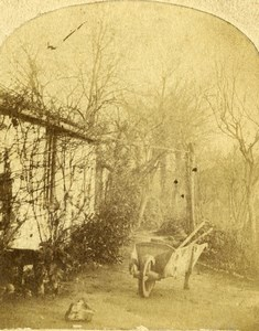 France French Countryside Wheelbarrow Old Salt Paper? Stereoview Photo 1860