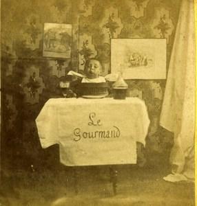 France Scene de Genre Greedy Baby Glutton Old Stereoview Photo 1860's