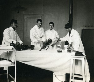 France Lille Military Hospital Skeletons Operating theater Stereoview Photo 1900