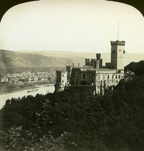 Germany Stolzenfels Rhine Castle Old White Stereoview Photo 1900