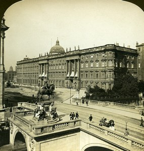 Germany Berlin Emperor's Palace Monument Old White Stereoview Photo 1900