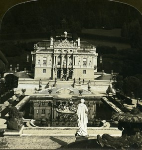 Germany Bavaria Linderhof Castle Old White Stereoview Photo 1900