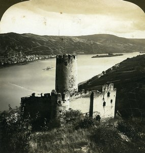 Germany Furstenberg Castle on Rhine river Old White Stereoview Photo 1900