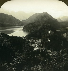 Germany Bavaria Hohenschwangau Lake Alpsee Old White Stereoview Photo 1900