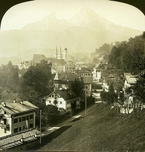 Germany Bavaria Berchtesgaden Watzmann Old White Stereoview Photo 1900