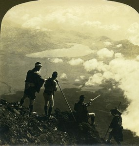 Japan from the Summit of Fujiyama Lake Yamanaka Old White Stereoview Photo 1900
