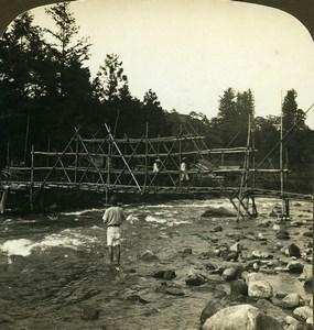 Japan Nikko Bamboo Bridge Daiya river Old White Stereoview Photo 1900