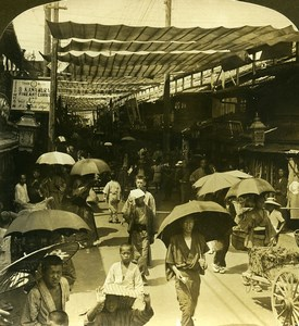 Japan Kyoto the Crowded Shijo Dori Old White Stereoview Photo 1900