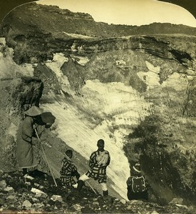 Japan Mount Fuji great sleeping crater Volcano Old White Stereoview Photo 1900