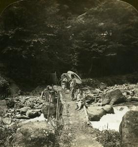 Japan Dogashima Bridge over Hayakawa River Old White Stereoview Photo 1900