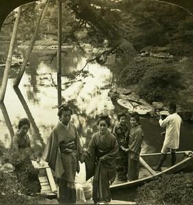 Japan Boating scene in japanese garden Old White Stereoview Photo 1900