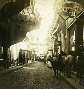 Cuba Havana Obispo Street Shopping street Old White Stereoview Photo 1900