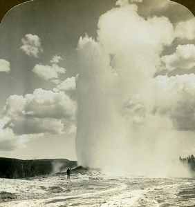 USA Yellowstone Park Geyser Old Faithfull Old American Stereoscopic Photo 1900